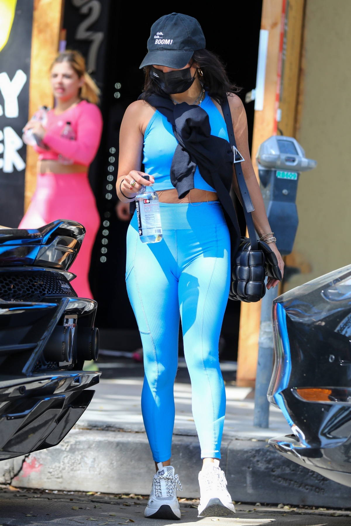 Vanessa Hudgens sports matching blue crop top and leggings as she hits the gym in Los Angeles