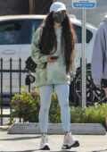 Vanessa Hudgens wears a tie-dye sweatshirt and leggings as she leaves after a workout session in Los Angeles
