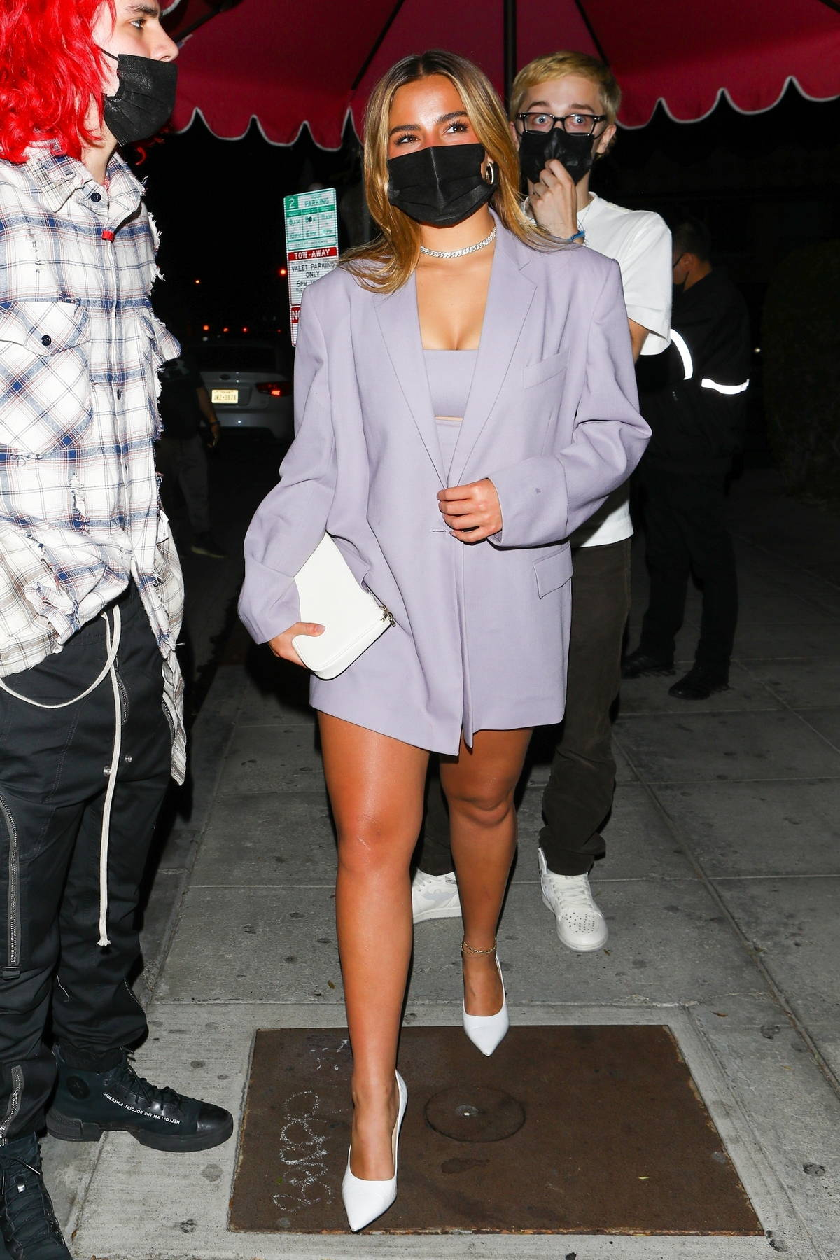 Addison Rae looks fab in lavender while attending Charli D'Amelio's birthday dinner at Delilah in West Hollywood, California