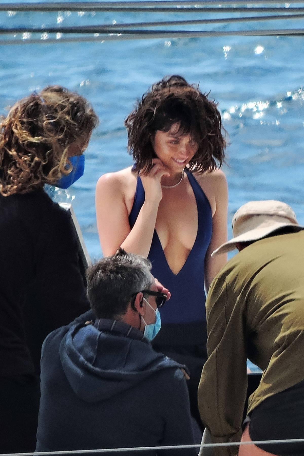 Ana de Armas seen filming a new commercial for Natural Diamond Council on a boat in Palma De Mallorca, Spain