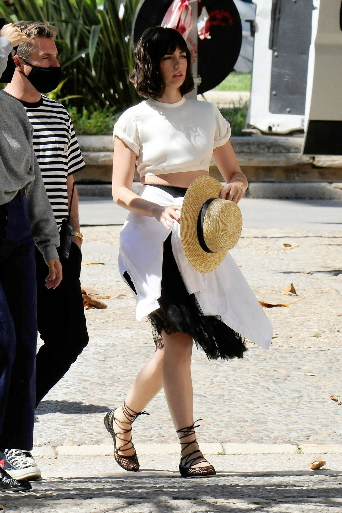 Ana de Armas spotted on set filming a new commercial for Natural Diamond Council in Palma De Mallorca, Spain