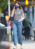 Anne Hathaway spotted with a vaccine New York sticker while out and about in New York City