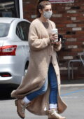 Ashley Greene looks stylish in a full-length cardigan and jeans while making a coffee run in Los Angeles