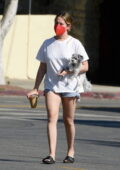 Ashley Tisdale wears a distressed white tee and denim shorts while stepping out for an iced coffee with her pup in Los Angeles