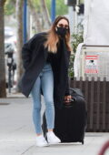 Aubrey Plaza spotted dragging a big suitcase in Los Angeles