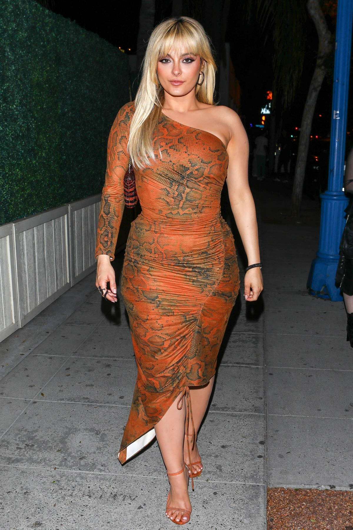 Bebe Rexha looks stunning in a bodycon dress attending Charli D'Amelio's birthday party at Delilah in West Hollywood, California
