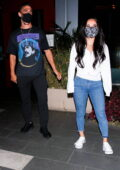Becky G steps out with her boyfriend Sebastian Lletget for dinner at BOA steakhouse in West Hollywood, California