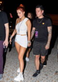 Bella Thorne puts on a leggy display at the Triller Fest Concert with fiancé Benjamin Mascolo in Miami, Florida