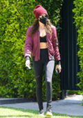 Cara Delevingne shows off her abs in sports bra top and leggings while leaving her Pilates class in West Hollywood, California