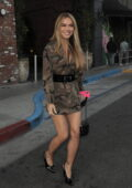 Chrishell Stause gets leggy in a camo mini dress while filming at the Highlight Room in Los Angeles