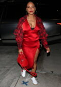 Christina Milian looks striking in red as she attends J.Ryan La Cour's private birthday party in Studio City, California
