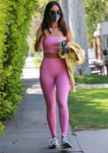 Eiza Gonzalez displays her svelte frame in pink crop top and leggings while attending a Pilates class in West Hollywood, California