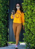 Eiza Gonzalez looks fab in a bright yellow sweatshirt and gold leggings while attending her Pilates class in West Hollywood, California