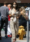 Eiza Gonzalez opts for a casual beige outfit as she grabs lunch in Studio City, California