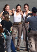 Elsa Pataky spotted on the set of her new film 'Interceptor' filming along with her two stunt doubles in Sydney, Australia