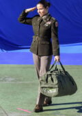 Elsa Pataky stands to salute dressed in a military uniform on set of her Netflix film 'Interceptor' in Sydney, Australia
