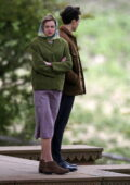 Emma Corrin and Harry Styles seen filming scenes for 'My Policeman' at The Chattri Monument in Meopham, UK