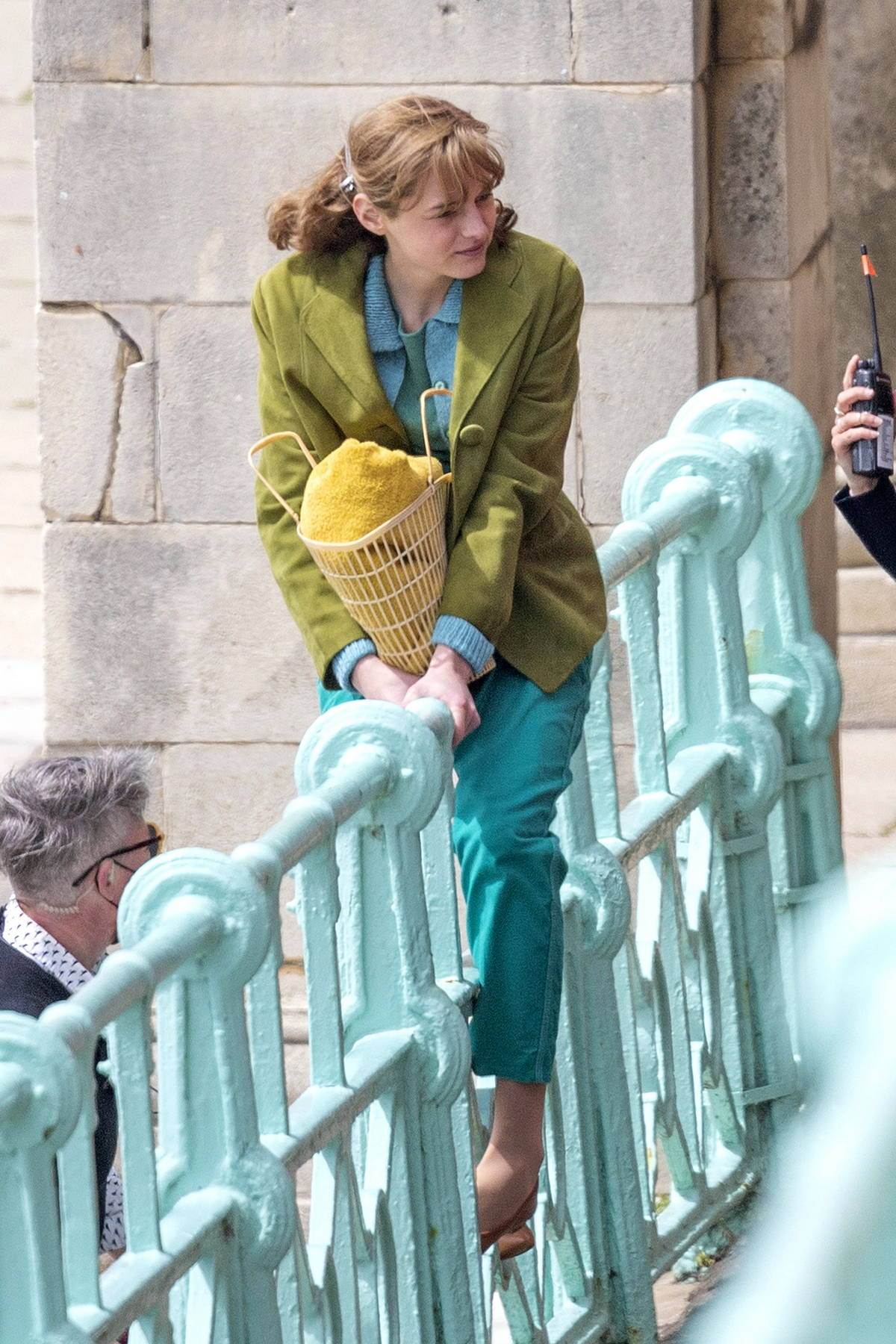 Emma Corrin is playful between takes as she films 'My Policeman' with Harry Styles in Brighton, UK