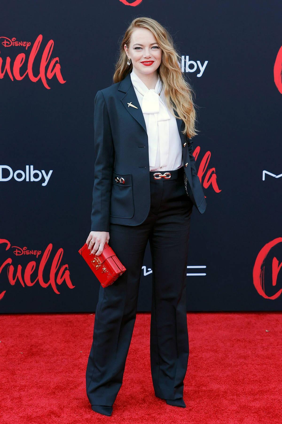 Emma Stone attends the premiere of Disney's 'Cruella' in Los Angeles