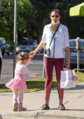 Gal Gadot shows her growing baby bump while out shopping with her daughter and friend in Studio City, California