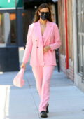 Irina Shayk looks fashionable in all-pink pantsuit while for a stroll with her daughter in New York City