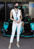 Iris Mittenaere attends the Monaco E-Prix 2021 in Monte Carlo, Monaco