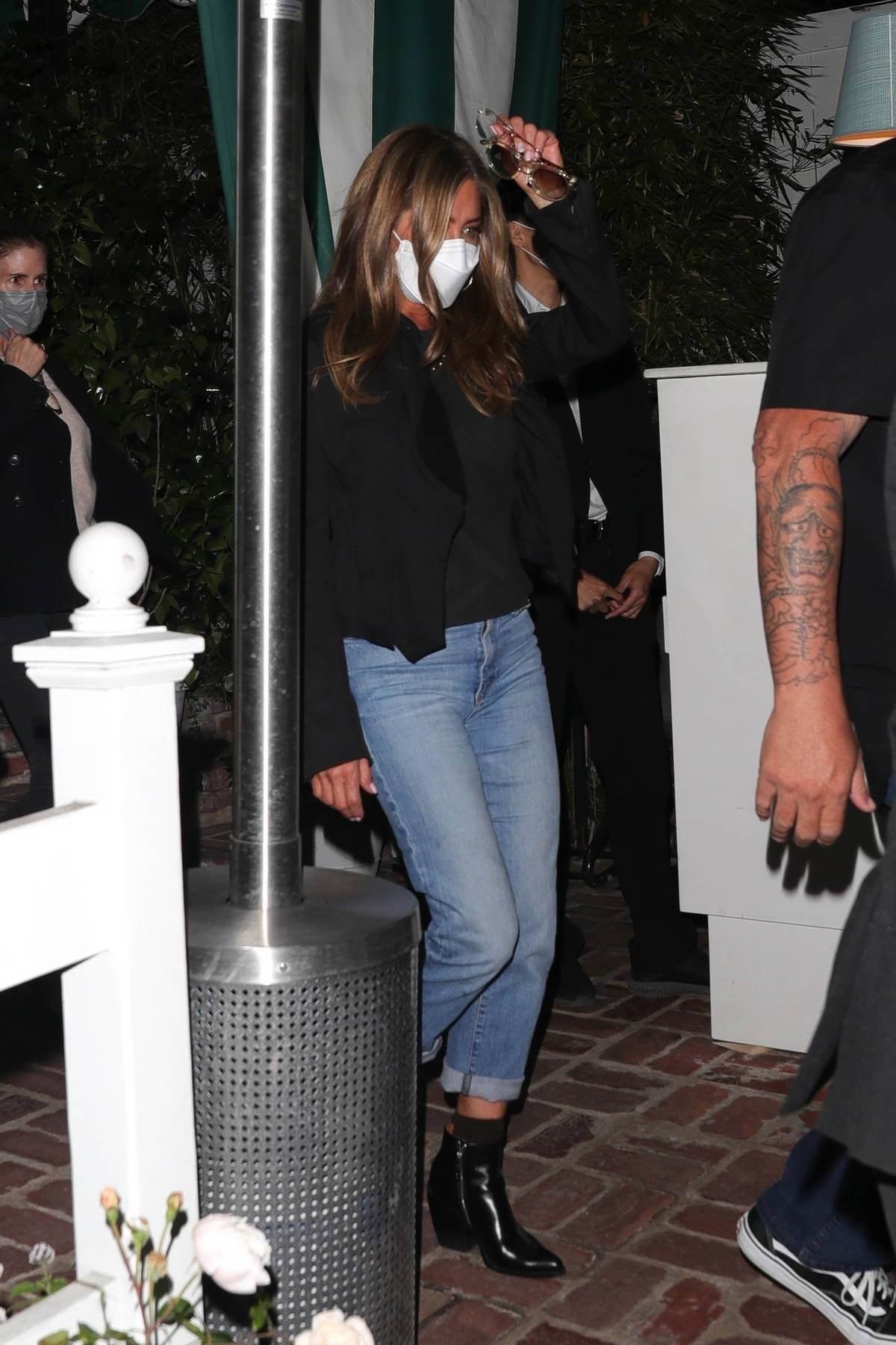 Jennifer Aniston seen leaving after dinner at San Vicente Bungalows in West Hollywood, California