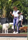 Jennifer Lopez spotted with her son after hitting the gym while Ben Affleck grabs a smoke on the balcony in Miami, Florida
