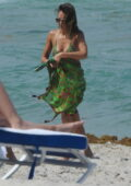 Jessica Alba spotted in a green bikini while playing ball with her husband Cash Warren in Miami, Florida