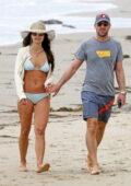 Jordana Brewster dons a light blue bikini while enjoying a beach day with Mason Morfit in Santa Monica, California