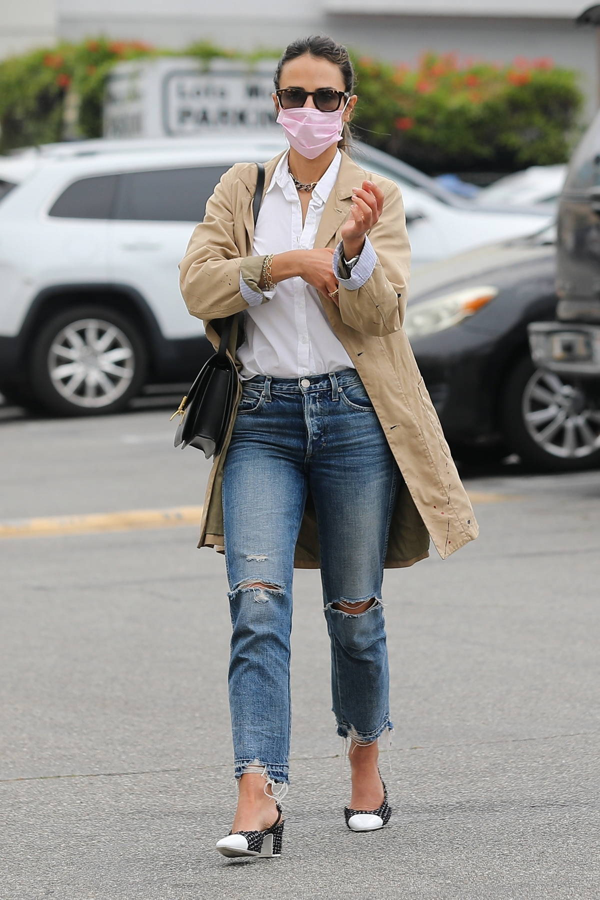 Jordana Brewster dressed for business as she heads to lunch meeting at Bossa Nova in West Hollywood, California