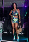 Karrueche Tran dons a colorful patterned mini dress as she heads to Kiki on the river in Miami, Florida