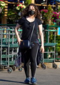 Kat Dennings and her fiancé Andrew W.K. stop to buy some plants in Studio City, California