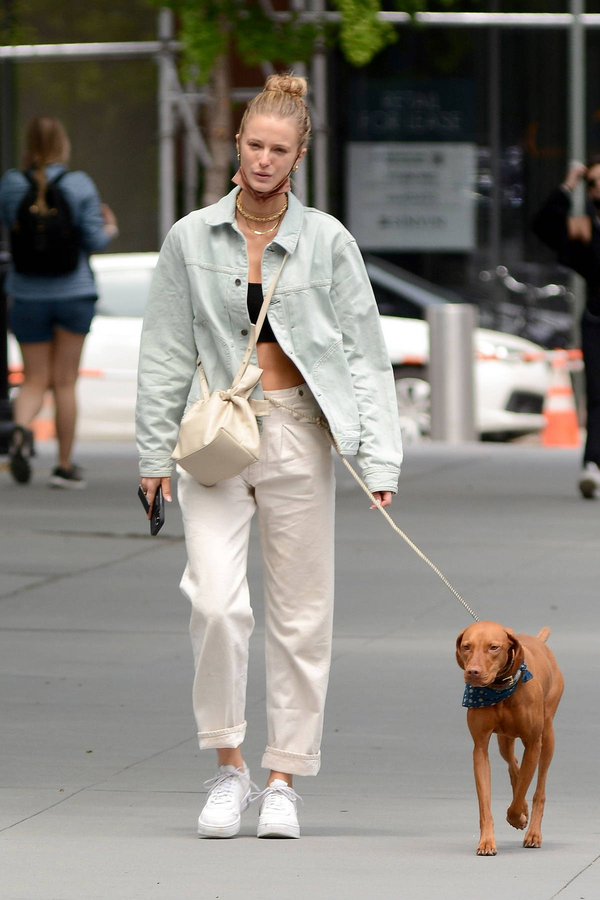 Kate Bock keeps it casual as she steps out for stroll with her dog in New York City