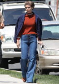 Kate Mara and Chris Messina spotted during rehearsing a scene on the set of 'Call Jane' in Hartford, Connecticut
