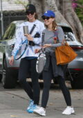 Katherine and Christina Schwarzenegger leave with their mother Maria Shriver after a tennis match in Pacific Palisades, California