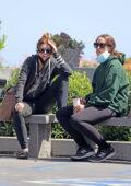 Katherine and Christina Schwarzenegger picks up a chicken tarragon sandwich and ice tea to go in Santa Barbara, California