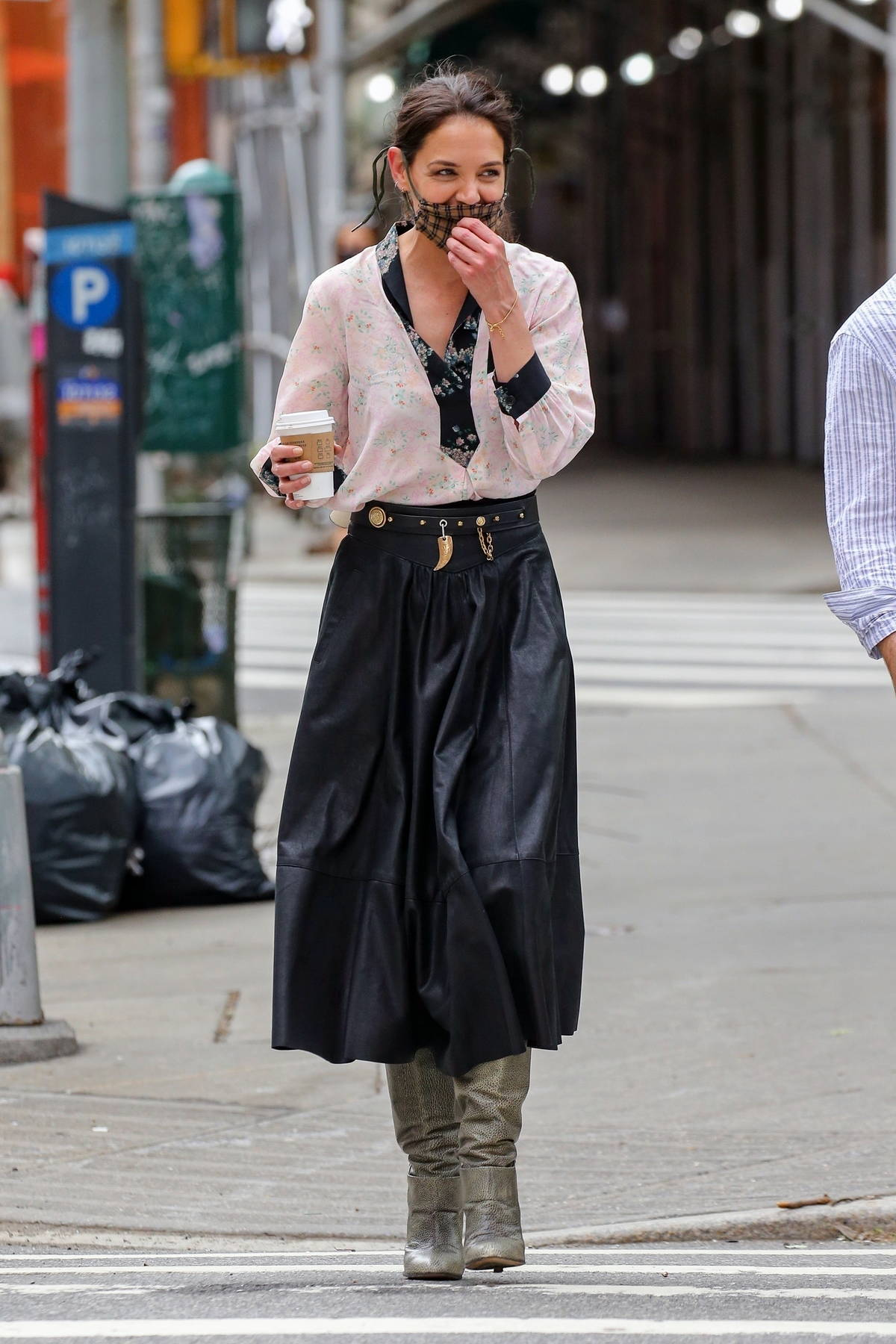 Katie Holmes spotted in two different outfits while filming 'Watergate Girl' in New York City