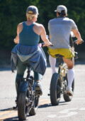 Katy Perry and Orlando Bloom go for an afternoon bike ride with their 8-month-old daughter Daisy around Santa Barbara, California