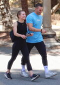 Kristen Bell and Benjamin Levy Aguilar meet up for a hike together at Griffith Park in Los Feliz, California