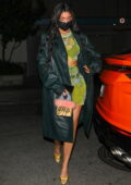 Kylie Jenner looks stylish in all-green during a night out at the Nice Guy in West Hollywood, California