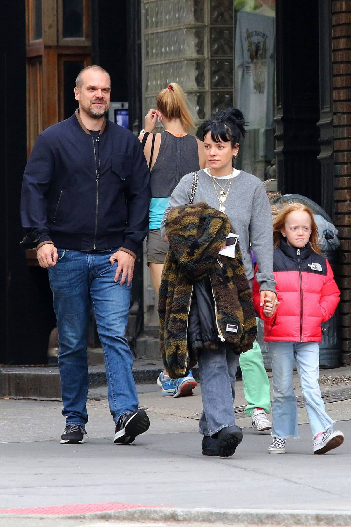 Lily Allen steps out for a walk out with her kids and husband David Harbour in Manhattan, New York City