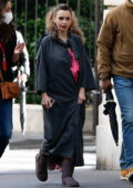 Lily Collins gets all glammed up as she arrives on the set of 'Emily in Paris' in Paris, France
