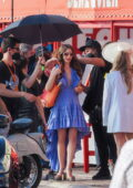 Lily Collins seen filming 'Emily In Paris' on the French Riviera in Saint-Tropez, France