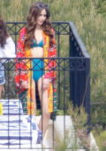 Lily Collins spotted in a blue retro style bikini while filming scenes for 'Emily in Paris' in Paris, France