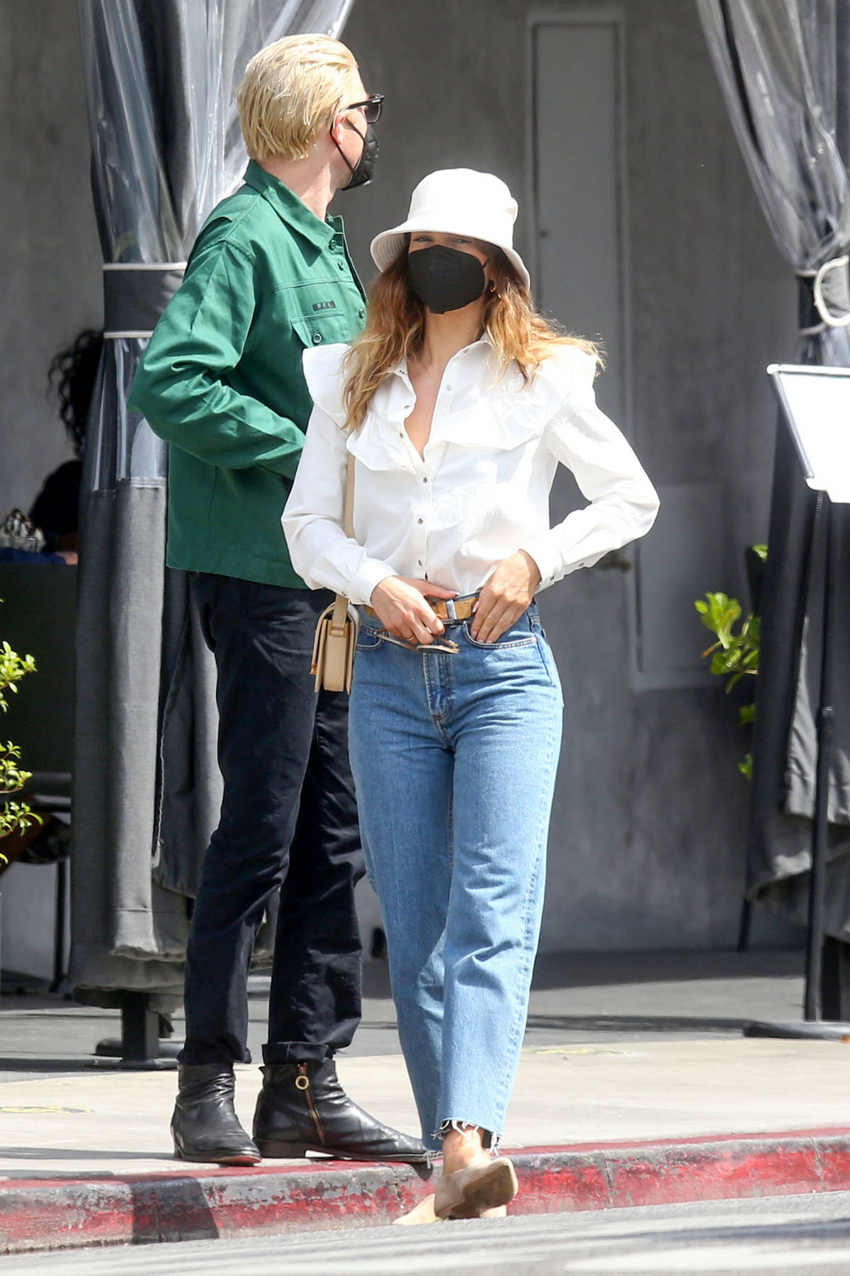 Lily James steps out for an alfresco lunch with boyfriend Michael Shuman in West Hollywood, California