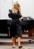 Lily James transforms into the character of Pamela Anderson for the new Hulu show 'Pam and Tommy' in Los Angeles