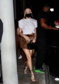 Maddie Ziegler rocks an animal print mini skirt as she arrives for dinner at Catch in West Hollywood, California