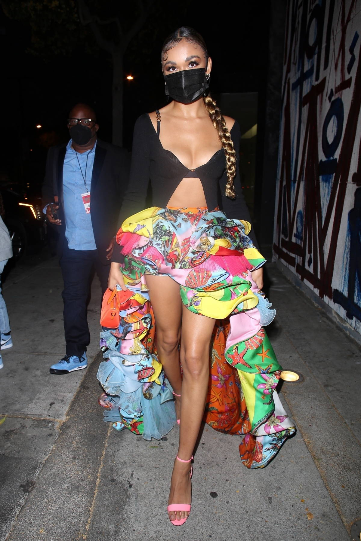 Madison Bailey dazzles in a colorful ensemble as she arrives at Craig's in West Hollywood, California