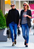 Olivia Palermo and Nicky Hilton take a walk after having lunch at Sant Ambroeus in Soho, New York City